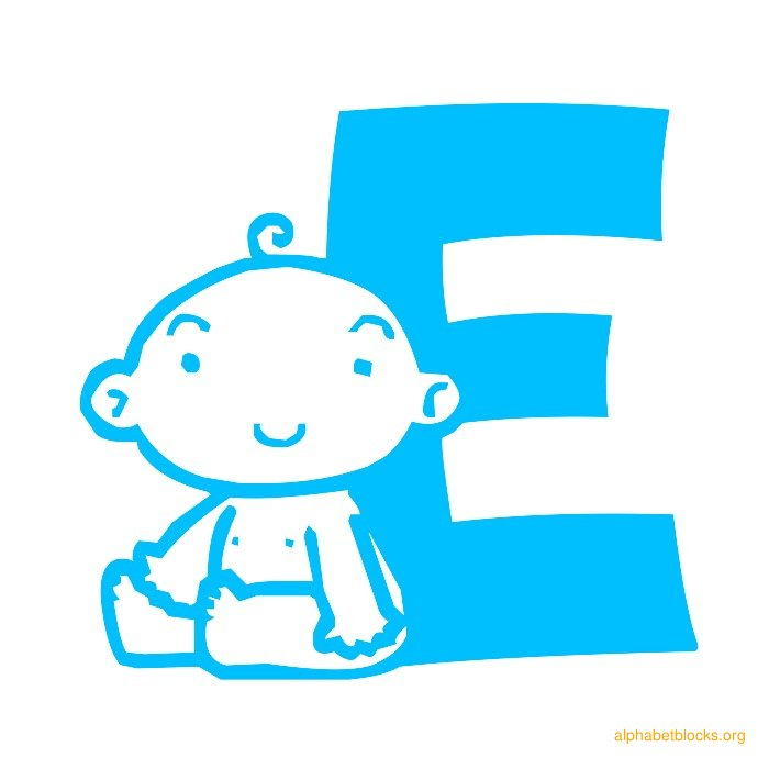 alphabet block baby blue e
