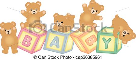 Baby blocks with teddy bear.