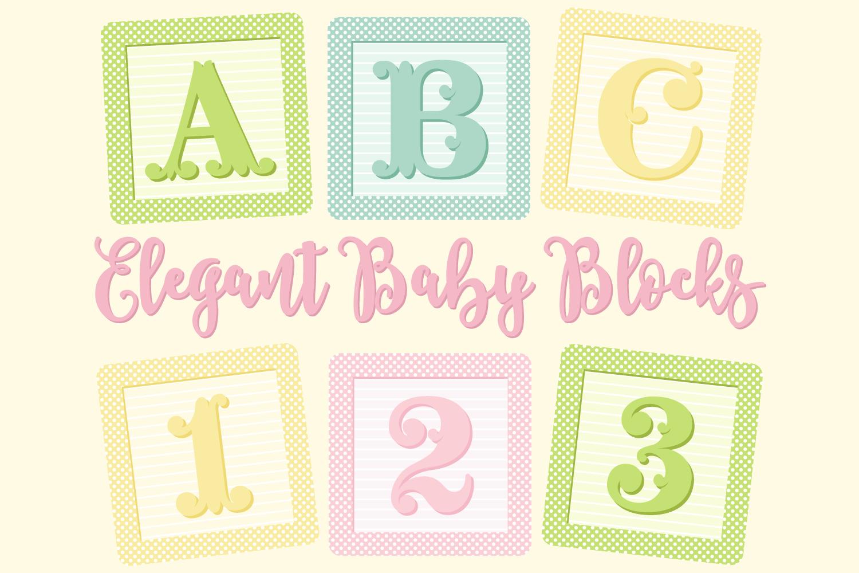 Elegant Baby Blocks Alphabet Clip Art.