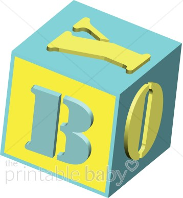 BOY 3d blue and yellow baby block.