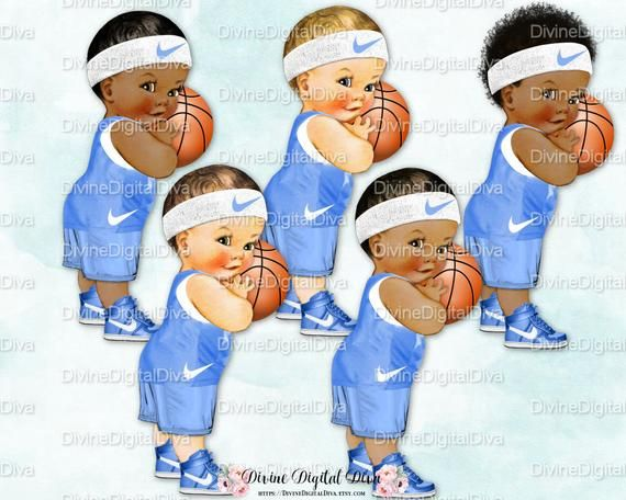 Little Prince Basketball Baby Blue & White Sneakers.