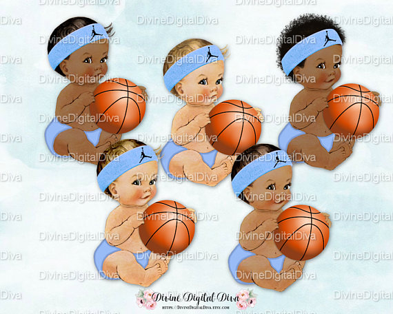 Baby With Basketball Clipart.