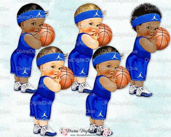 Little Prince Basketball Player Royal Blue White Shorts.