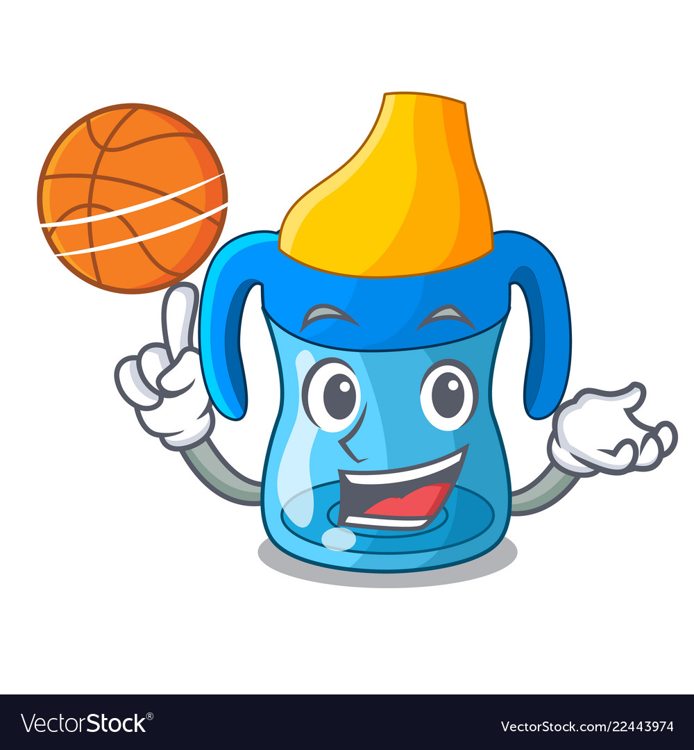 With basketball character baby training cup with.