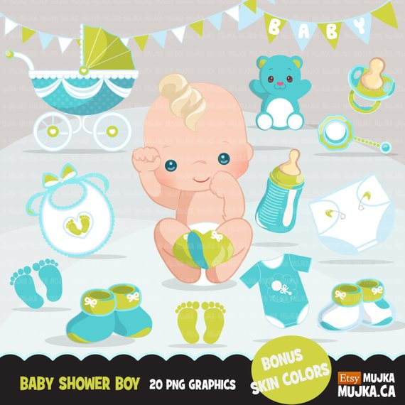 Baby Shower Clipart. Baby boy blue bib, diaper, baby shoes.