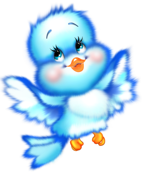Cute Blue Bird Cartoon Free Clipart.