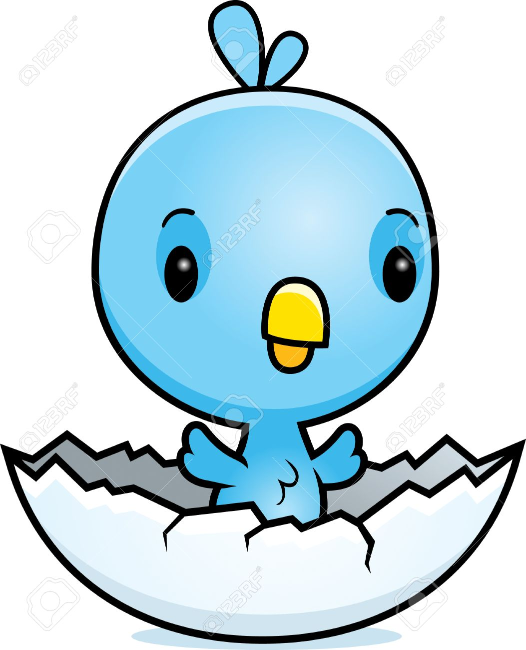 A cartoon illustration of a baby blue bird hatching from an egg..