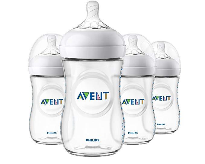 Philips Avent Natural Baby Bottle, Clear, 9oz, 4pk, SCF013/47.