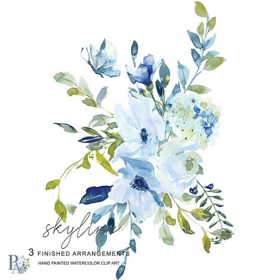 Light Blue Turquoise Floral Clipart Watercolor Hydrangea.