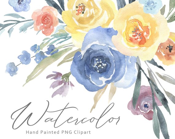 Watercolor Flowers Clipart Floral Clip Art Bouquets Light.