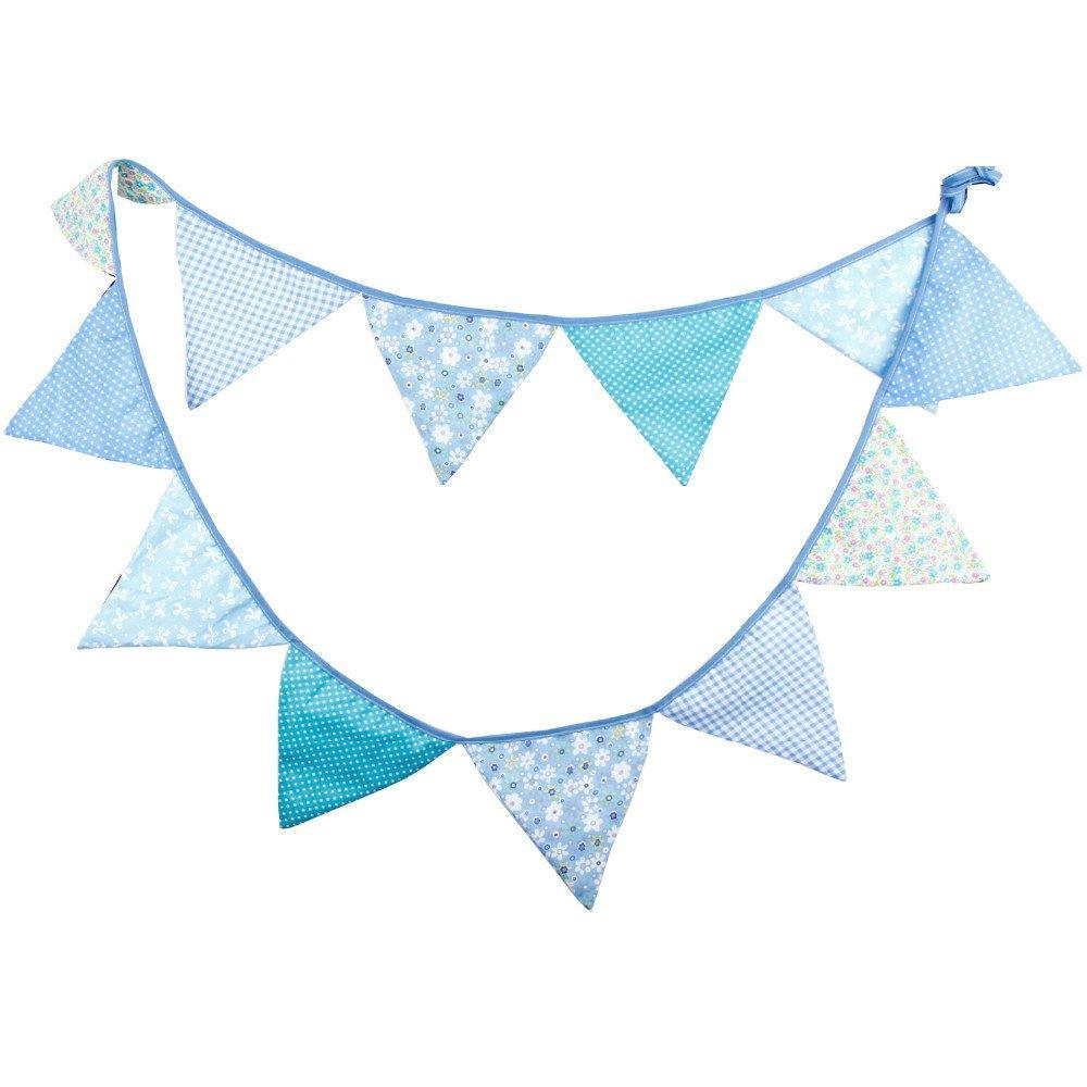Fabric Bunting Banner Boys Nursery Blue Flags Bunting, Photography Prop  Cotton Fabric Banners Boys Baby Shower Garland.