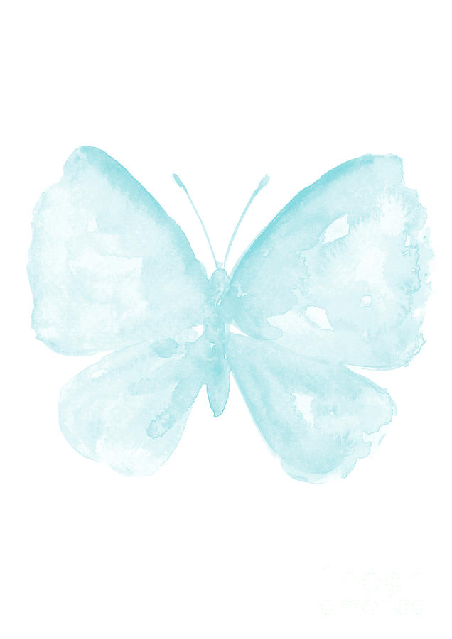 Blue Butterfly, Baby Blue Paster Kids Room Clip Art, Butterflies Watercolor  Painting.