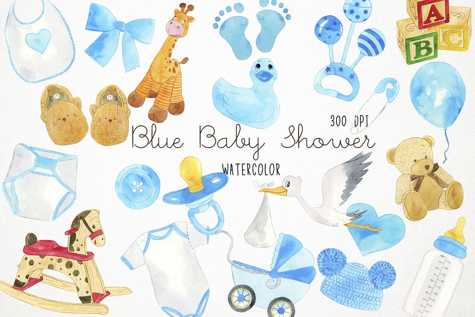 Watercolor Baby Shower Clipart, Baby Blue Clipart.