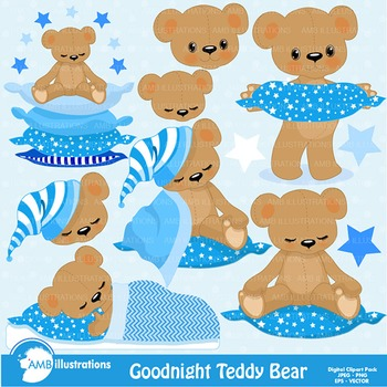 Clipart, Teddy Bear Clip Art in Baby Blue, Nursery, Slumber Party, AMB.