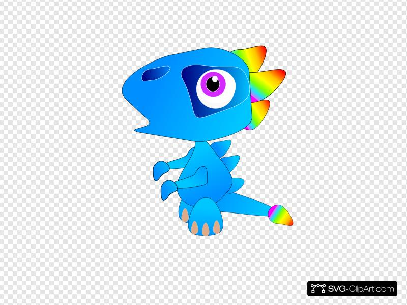 Blue Baby Dragon Clip art, Icon and SVG.