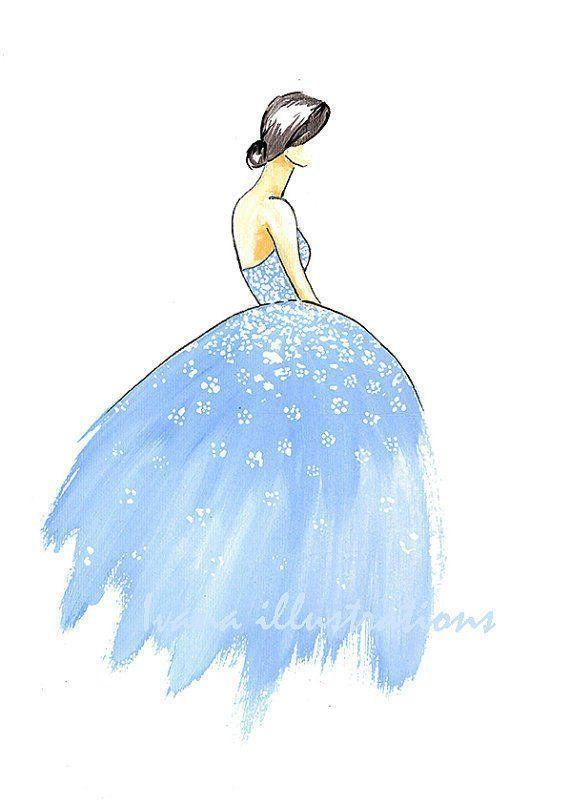 Printable light blue dress sketch print,fashion dress.