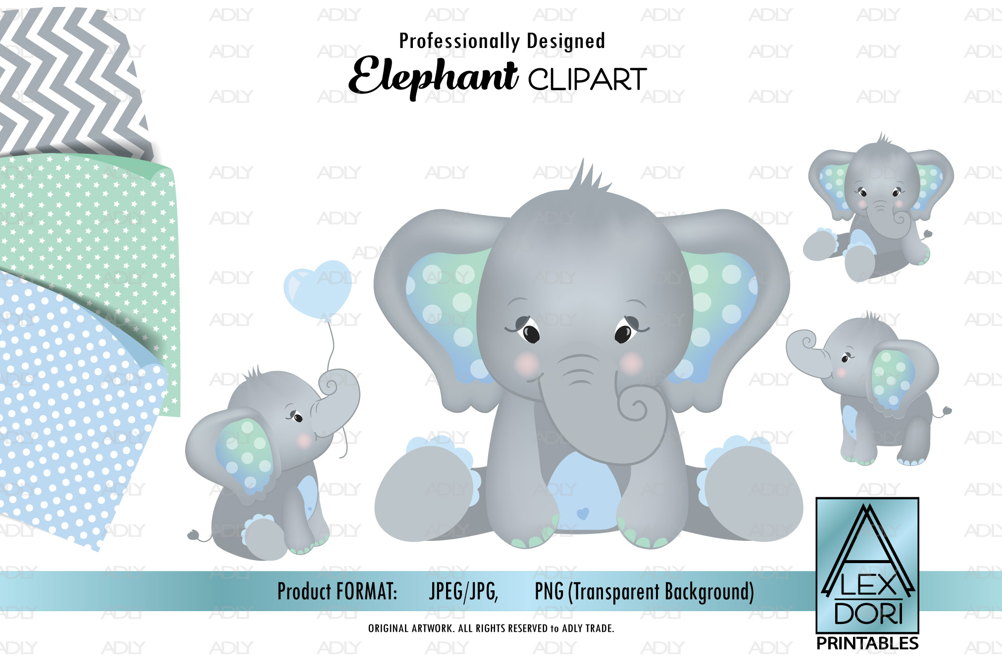 Mint Green Baby Blue Elephant Cliparts, background set.