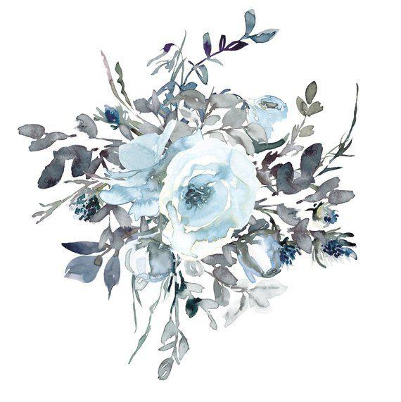 Watercolor White Light Blue Roses Clipart One Arrangement.