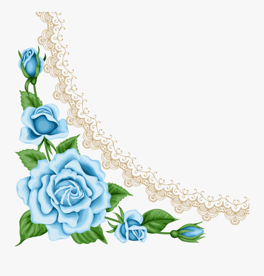 Light Blue Rose Border.