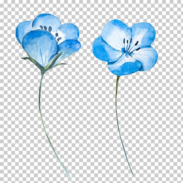 Watercolor painting Blue Flower, Light blue watercolor.