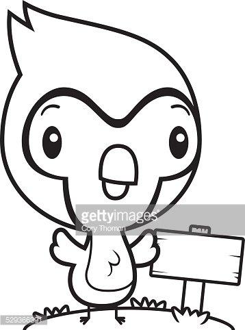 Cartoon Baby Blue Jay Wood Sign premium clipart.