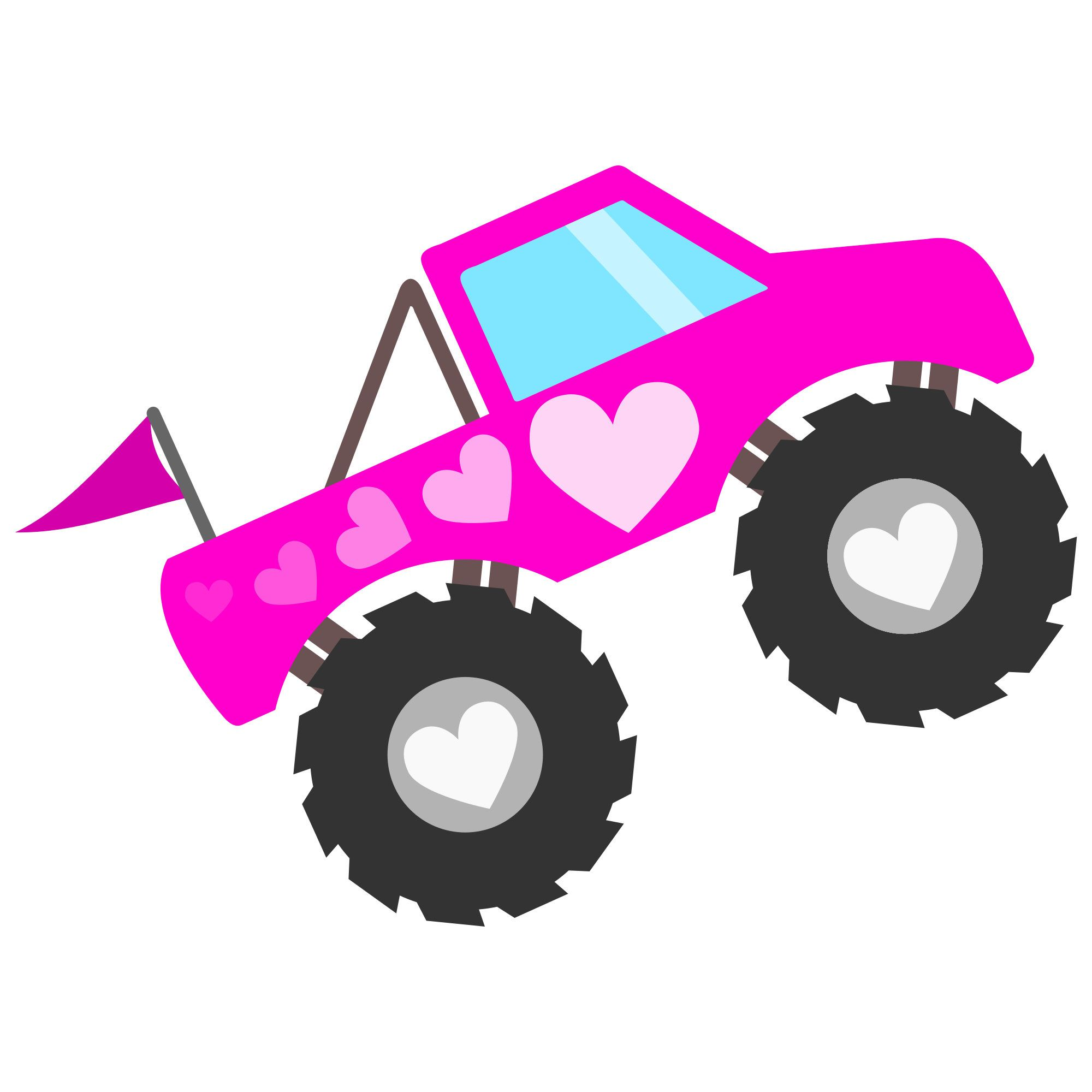 Pink Monster Truck for Girls SVG file for Cricut and.