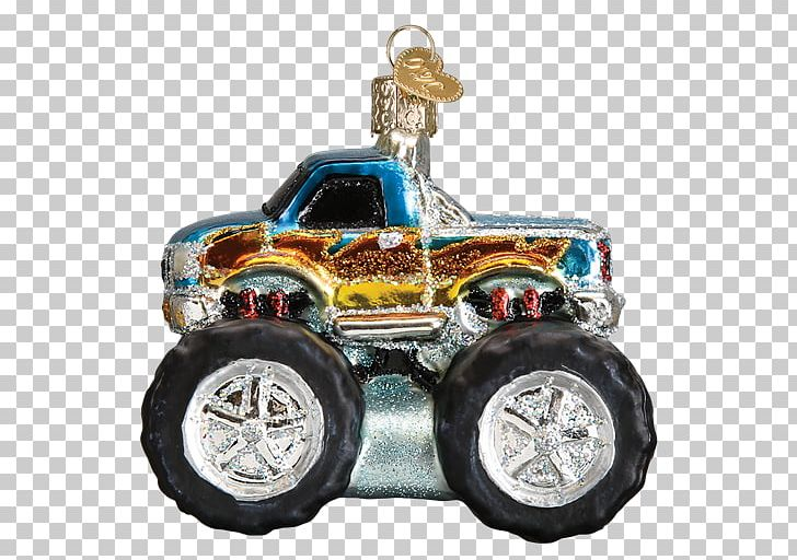 Car Monster Truck Christmas Ornament Blue Thunder PNG.