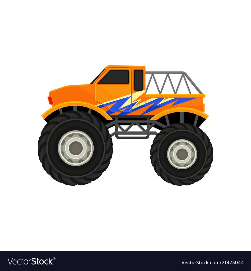 Flat icon of heavy monster truck orange.