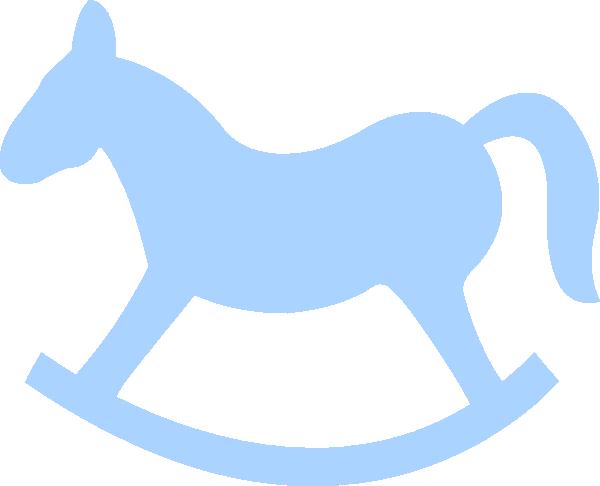 Blue Rocking Horse clip art.