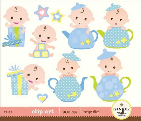 Peek A Boo clipart, baby boy clip art, baby shower announcement.