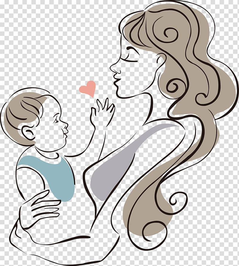 Mother carrying baby , Mother Drawing Infant Child, Mother.