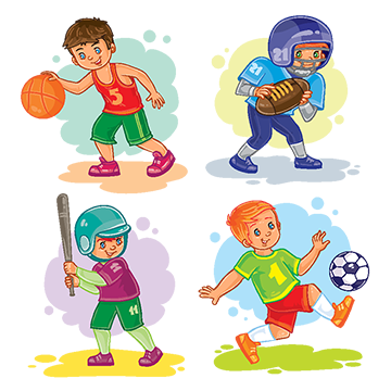 Set Icons Of Boys Playing Basketball Football Baseball, Baby.