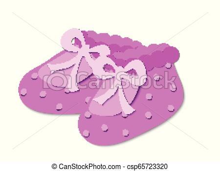 Pink baby booties.