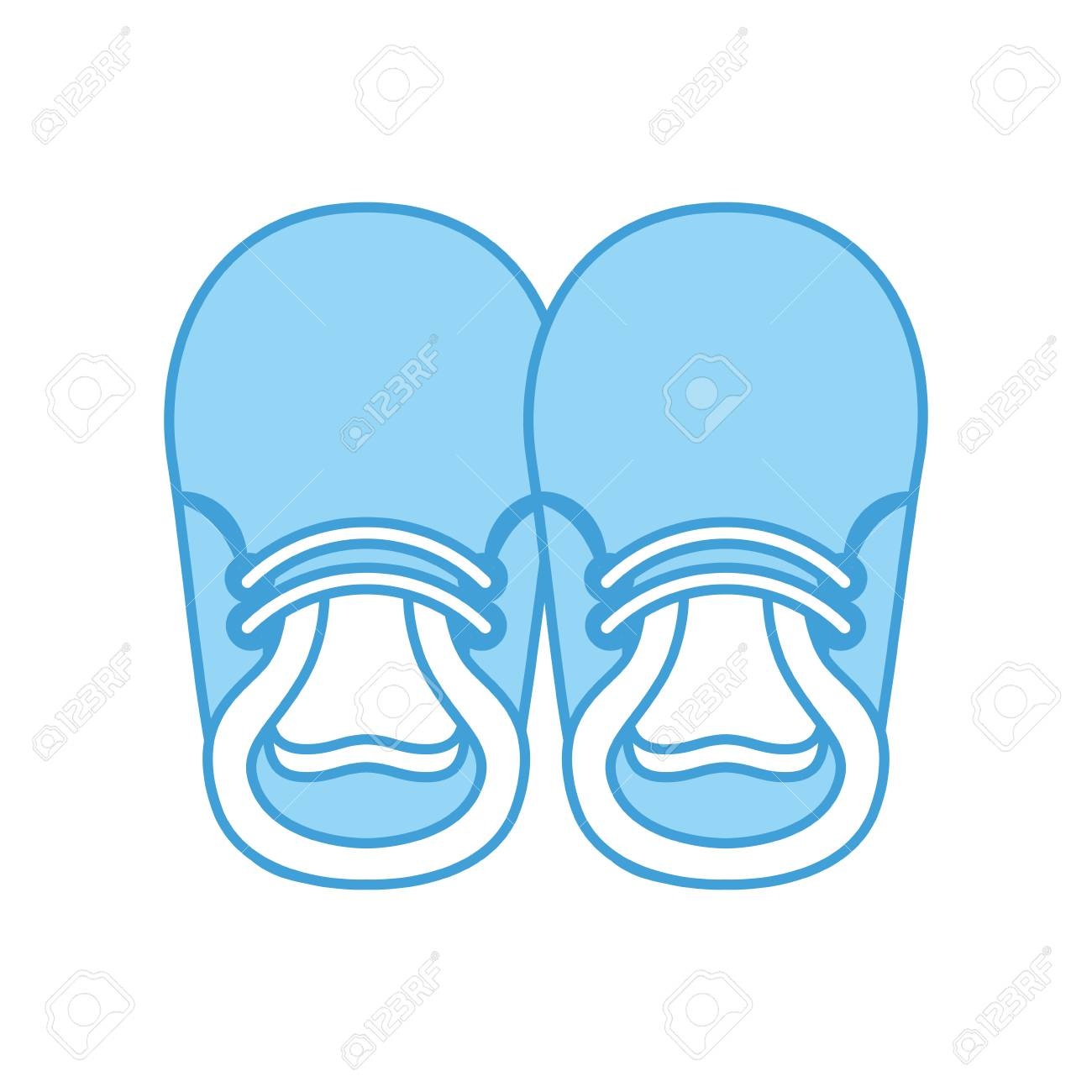 baby booties for boy child cute image vector illustration.