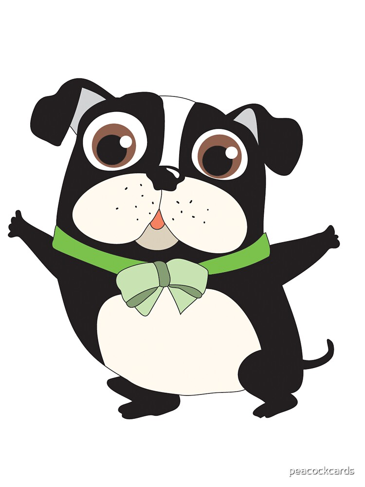 Cute Cartoon Pets Dogs Boston Terrier.