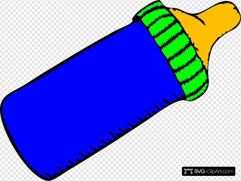 Baby Bottle Blue Green Clip art, Icon and SVG.