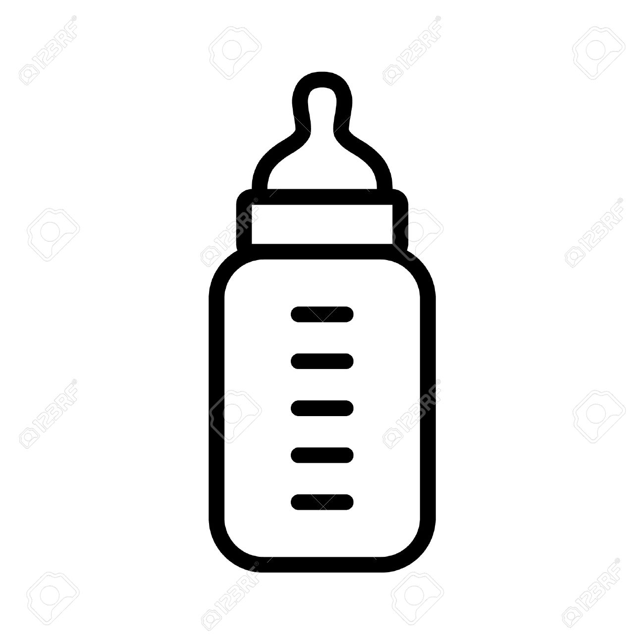 Baby milk bottle line art icon for apps and websites.