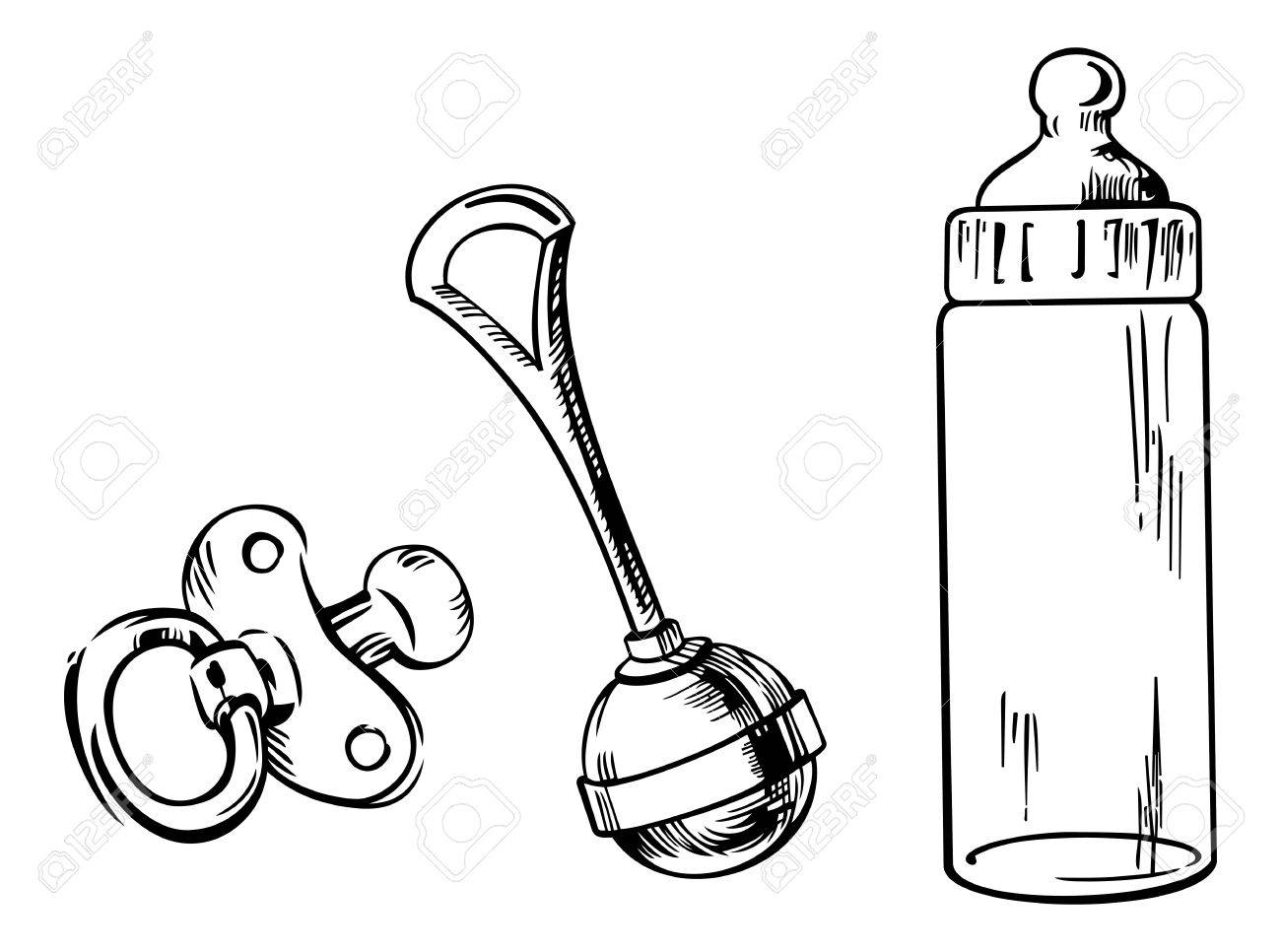 Outline image of baby bottle, soother and rattle isolated on...