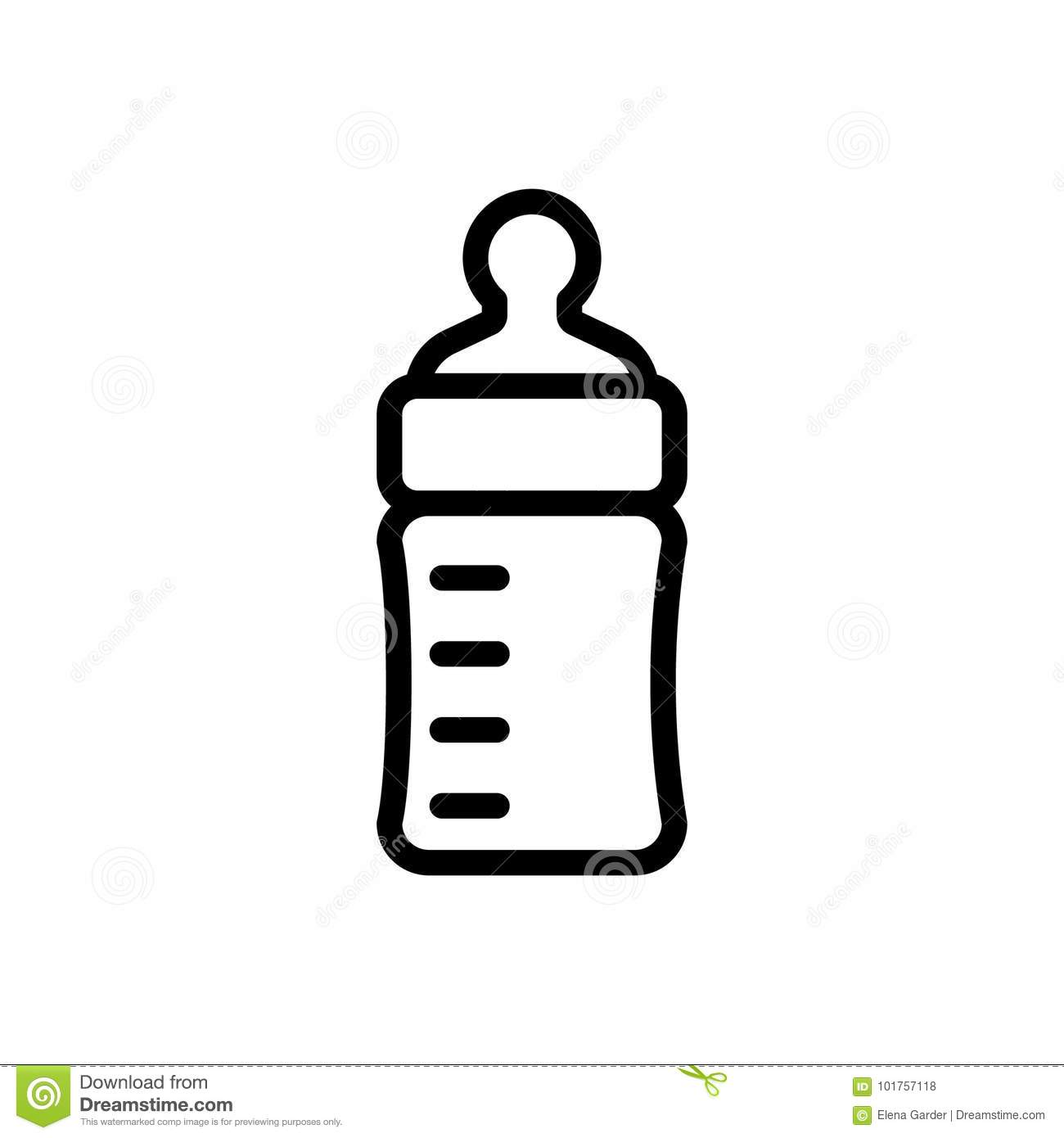 Baby Feeding Bottle Thin Line Icon. Outline Symbol Baby Nipple For.