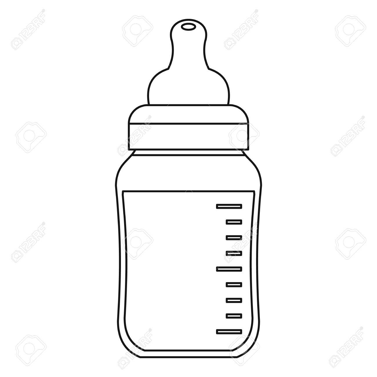 Baby bottle icon. Outline illustration of baby bottle vector...