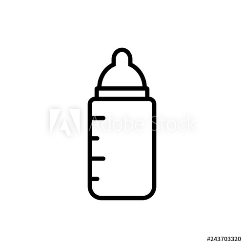 Baby milk bottle outline. Clipart image isolated on white background.