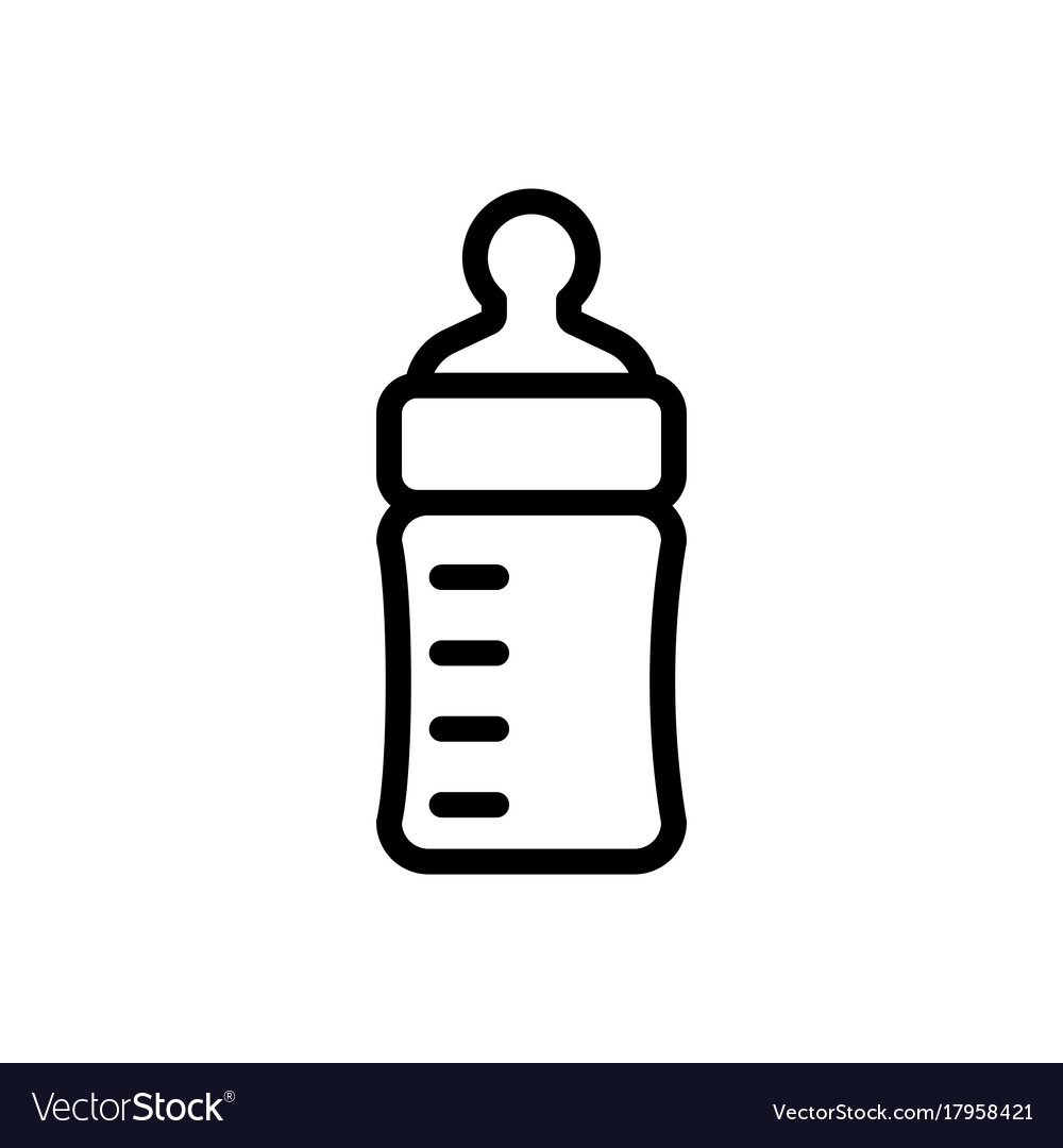 Baby feeding bottle thin line icon outline symbol.