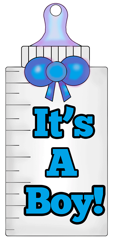 Printable Baby Bottle Tag saying It\'s a boy!.