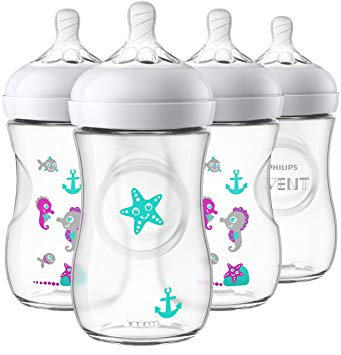 Philips Avent Natural Baby Bottle with Seahorse Design, 9oz, 4pk, SCF659/47.