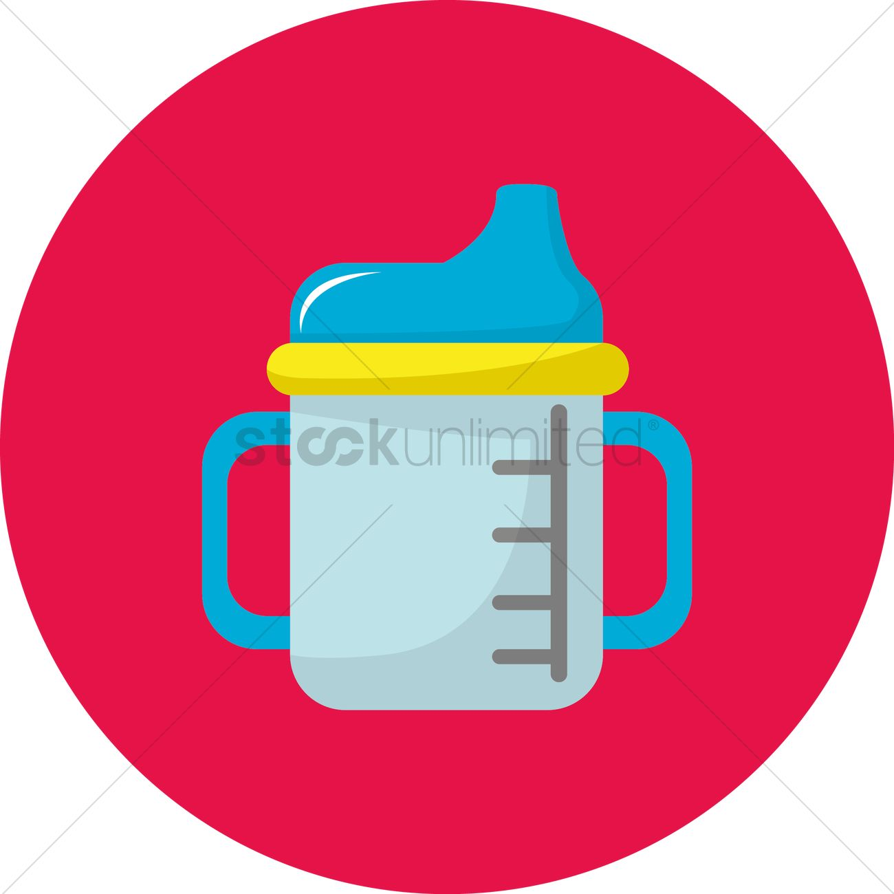 Free Baby bottle with handle Vector Image.