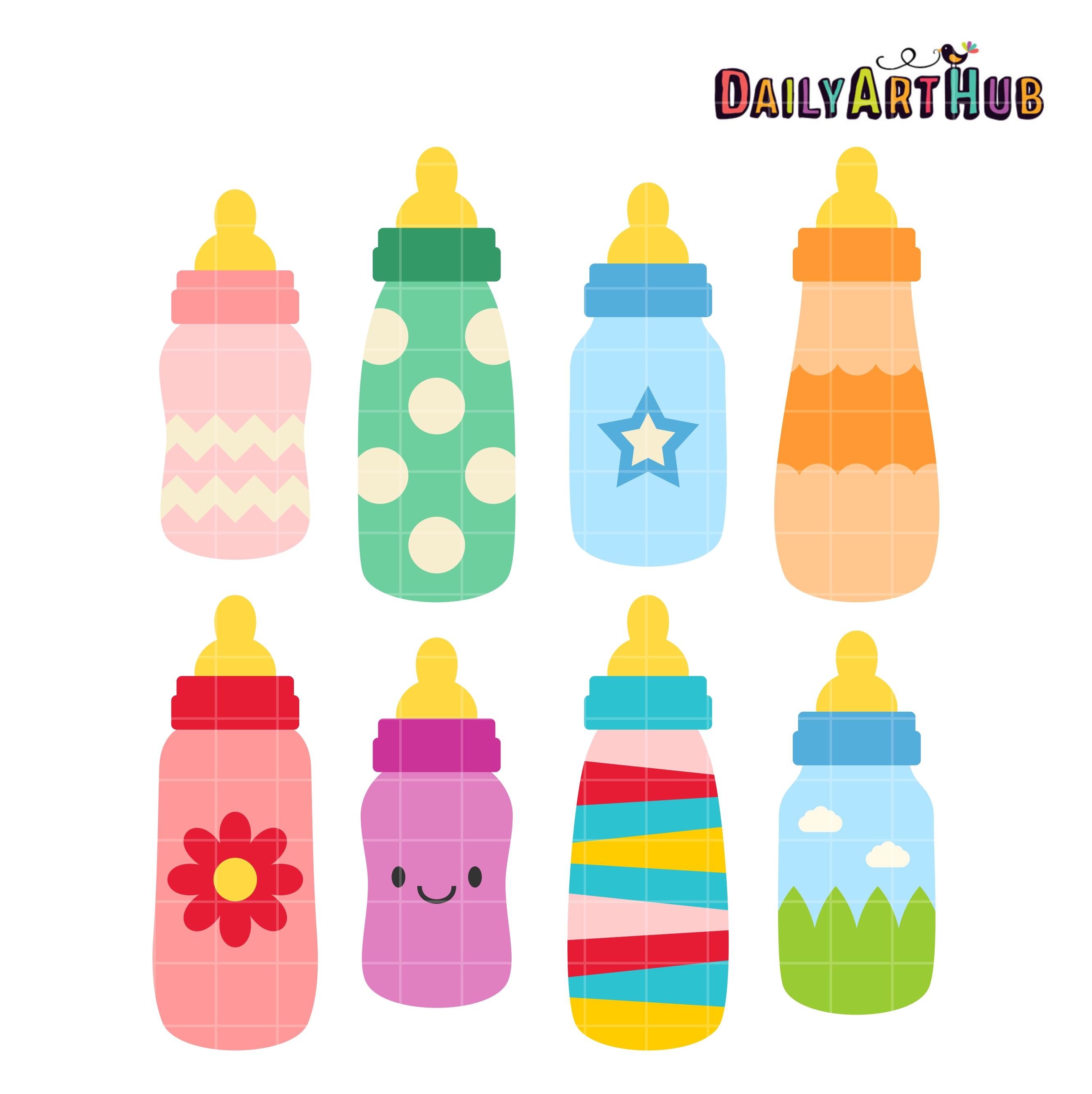 Baby Bottles Clip Art Set.