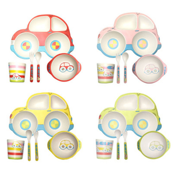 Baby Bowls Plate Cup Tableware Children Cartoon Car Shape Food Container  Placemat Dishes Infant Feeding Bowl Kids Feeding Plate Spoon Fork Colored.
