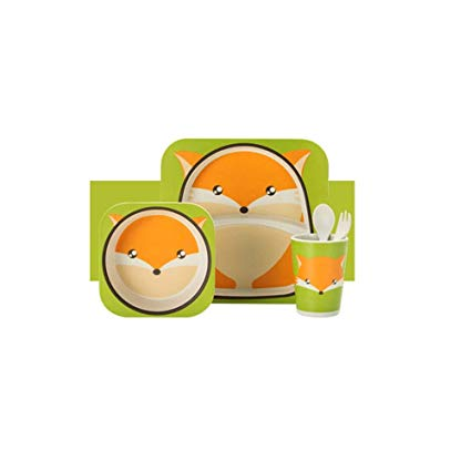 Baby Dishes Bowl Cup Bamboo Fiber 5pcs/Set Baby Plate Dishes.