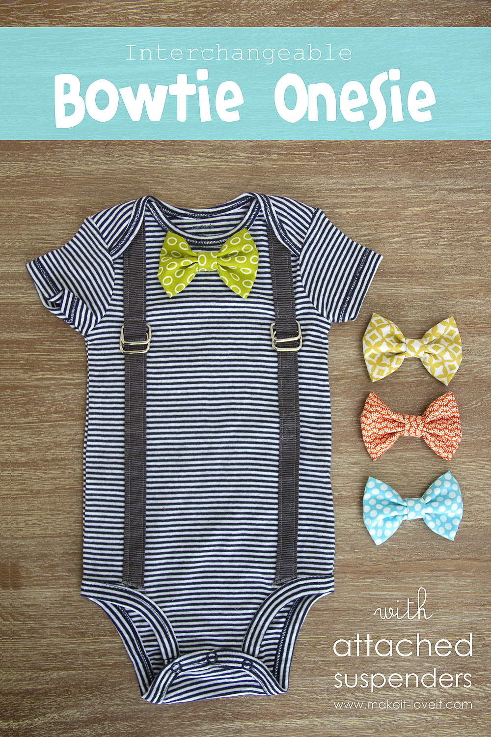 Interchangeable Bowtie Onesie.with Attached Suspenders (2.