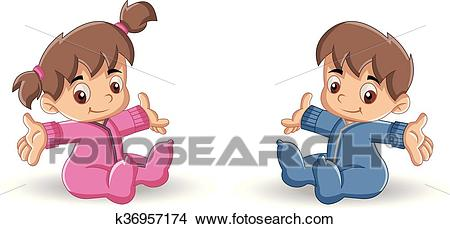 Baby boy and baby girl Clipart.